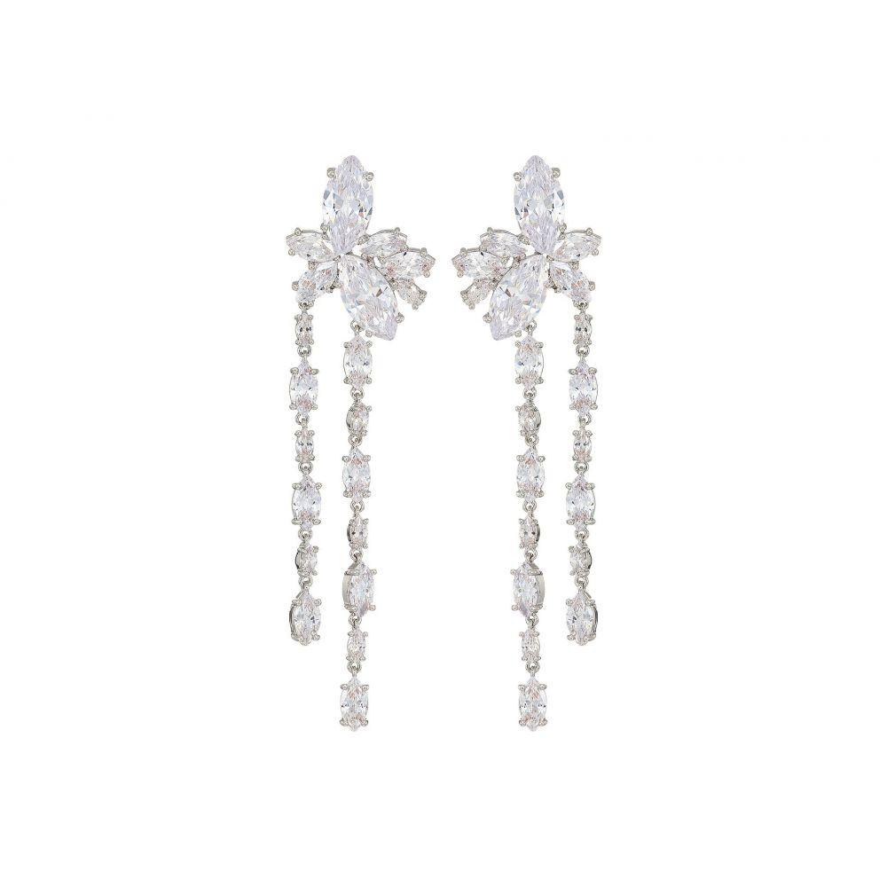 ニナ Nina レディース ジュエリー・アクセサリー イヤリング・ピアス【Floral Stone Cluster Linear Drop Earrings】Rhodium/White