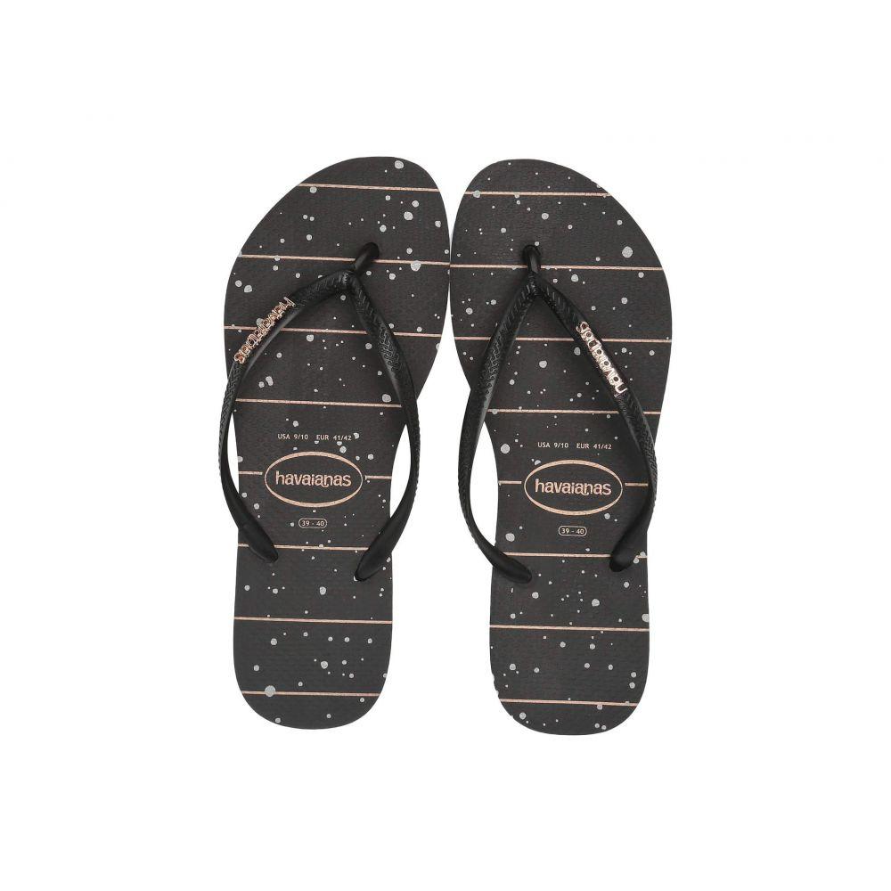 ハワイアナス Havaianas レディース シューズ・靴 ビーチサンダル【Slim Logo Metallic Sandal】Black/Black/Rose Gold Metallic