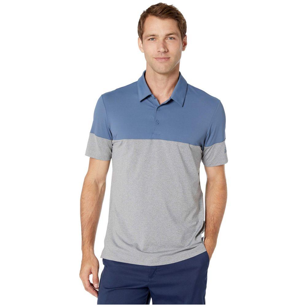 アディダス adidas Golf メンズ トップス ポロシャツ【Ultimate 3-Stripes Heather Blocked Polo】Grey Three Heather/Tech Ink