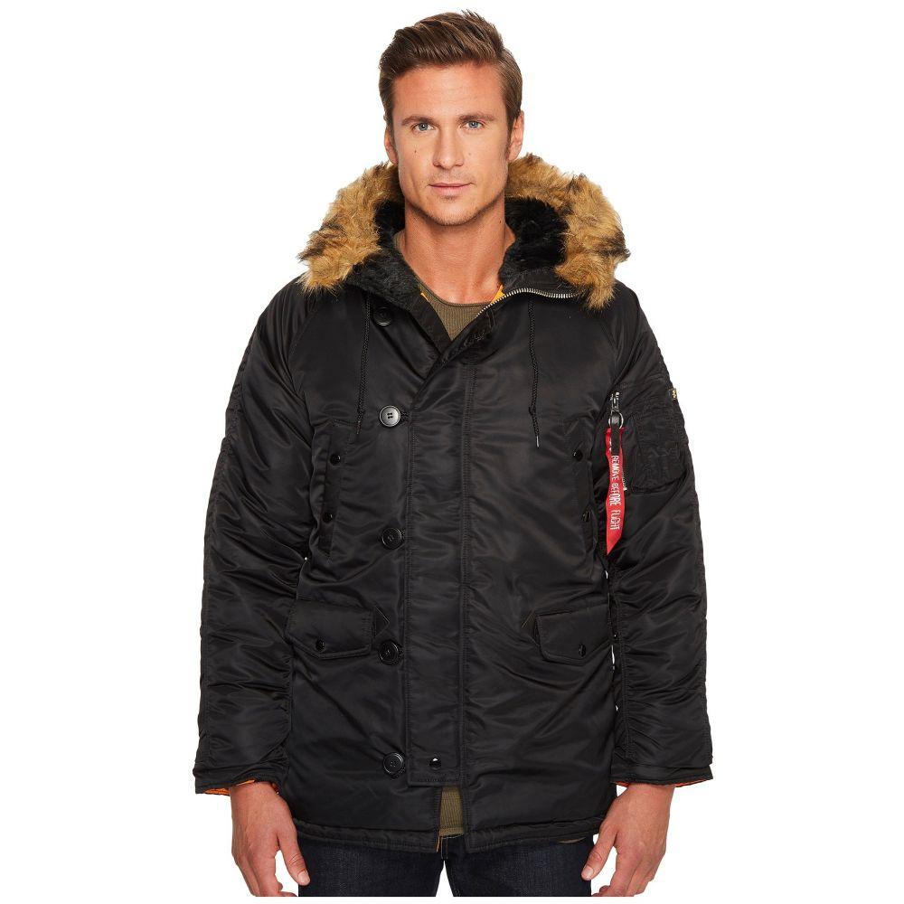 アルファ インダストリーズ Alpha Industries メンズ ダウン・中綿ジャケット アウター【N-3B Slim Fit Coat】Black/Brown Fur