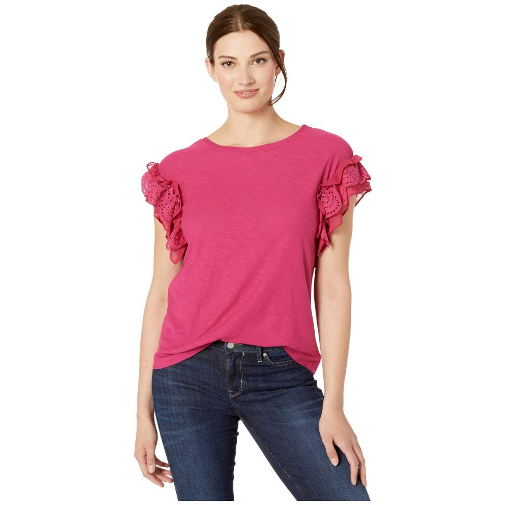 ヴィンス カムート TWO by Vince Camuto レディース Tシャツ トップス【Short Sleeve Eyelet Trim Mix Media Top】Wild Hibiscus