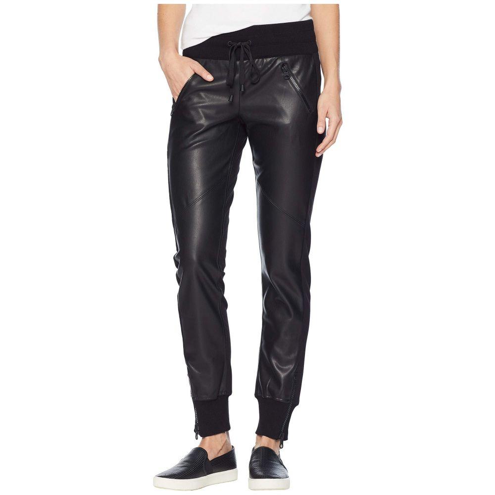 ブラン ノワール Blanc Noir レディース ジョガーパンツ ボトムス・パンツ【Faux Leather Front Jogger】Black