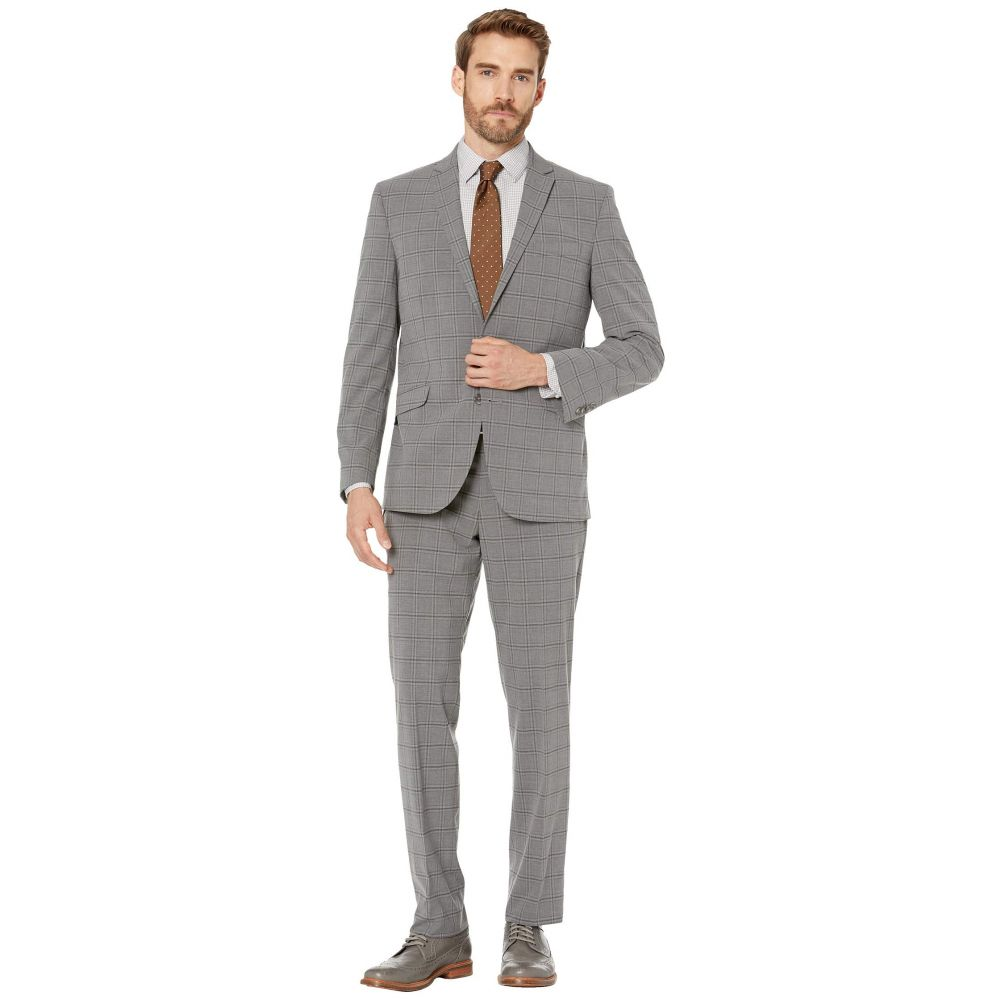 ケネス コール Kenneth Cole Reaction メンズ スーツ・ジャケット アウター【Graph Plaid Slim Fit Stretch Performance Suit】Grey Plaid
