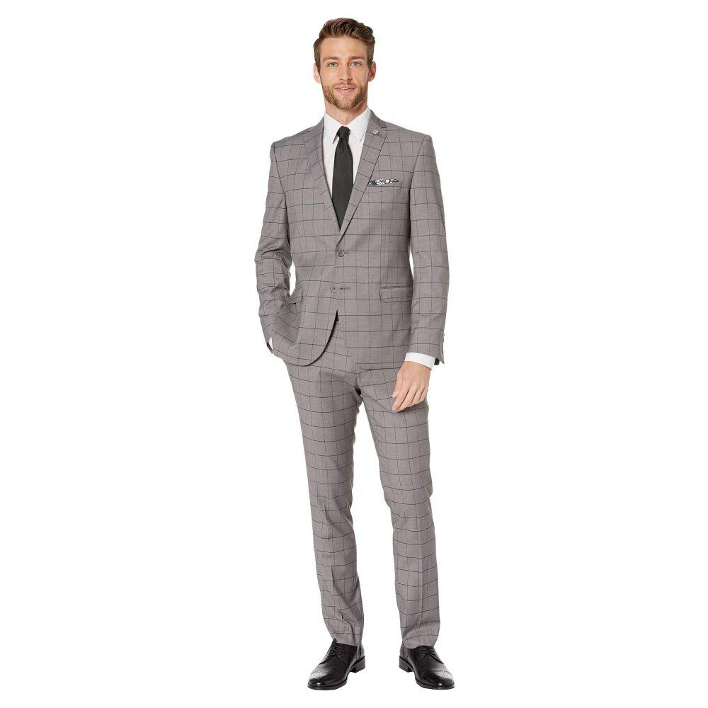 ニック グラハム Nick Graham メンズ スーツ・ジャケット アウター【Windowpane Plaid Suit】Grey Windowpane