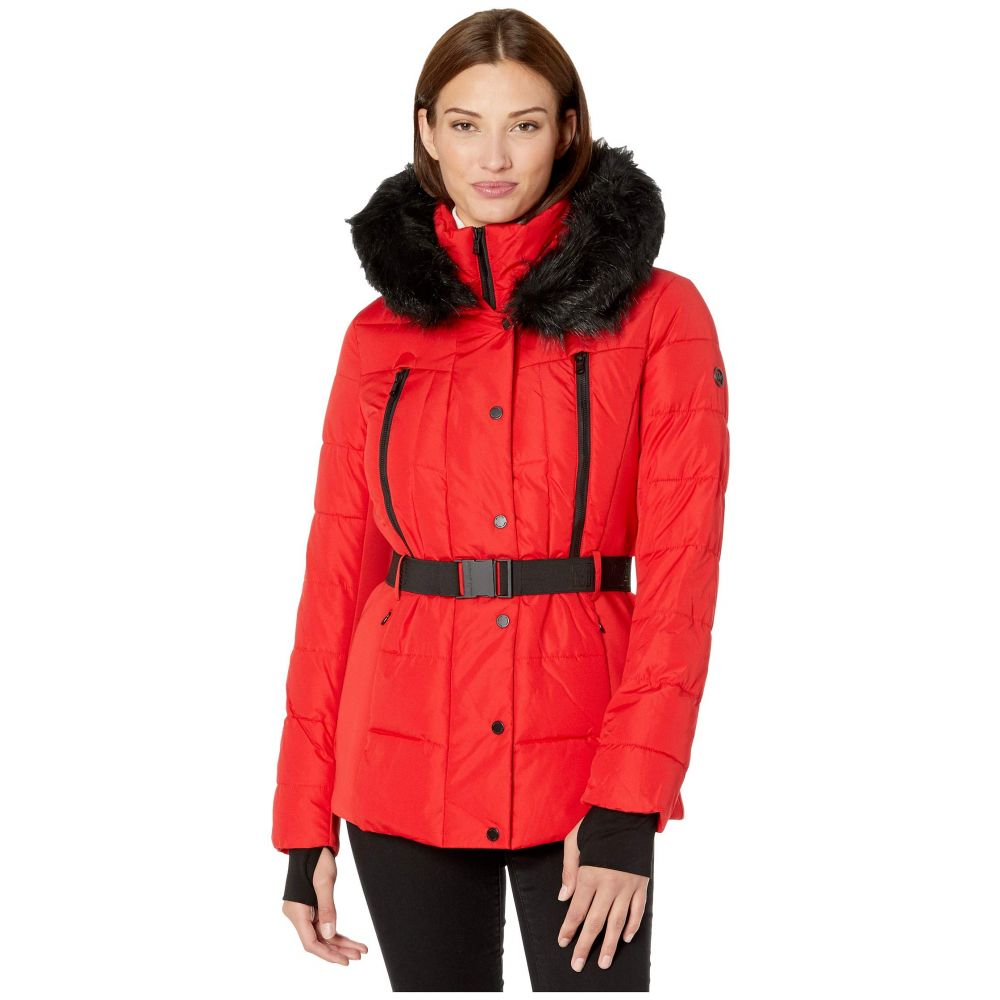 マイケル コース MICHAEL Michael Kors レディース ダウン・中綿ジャケット アウター【Active Jacket with Logo Belt and Hood A420380TZ】Red