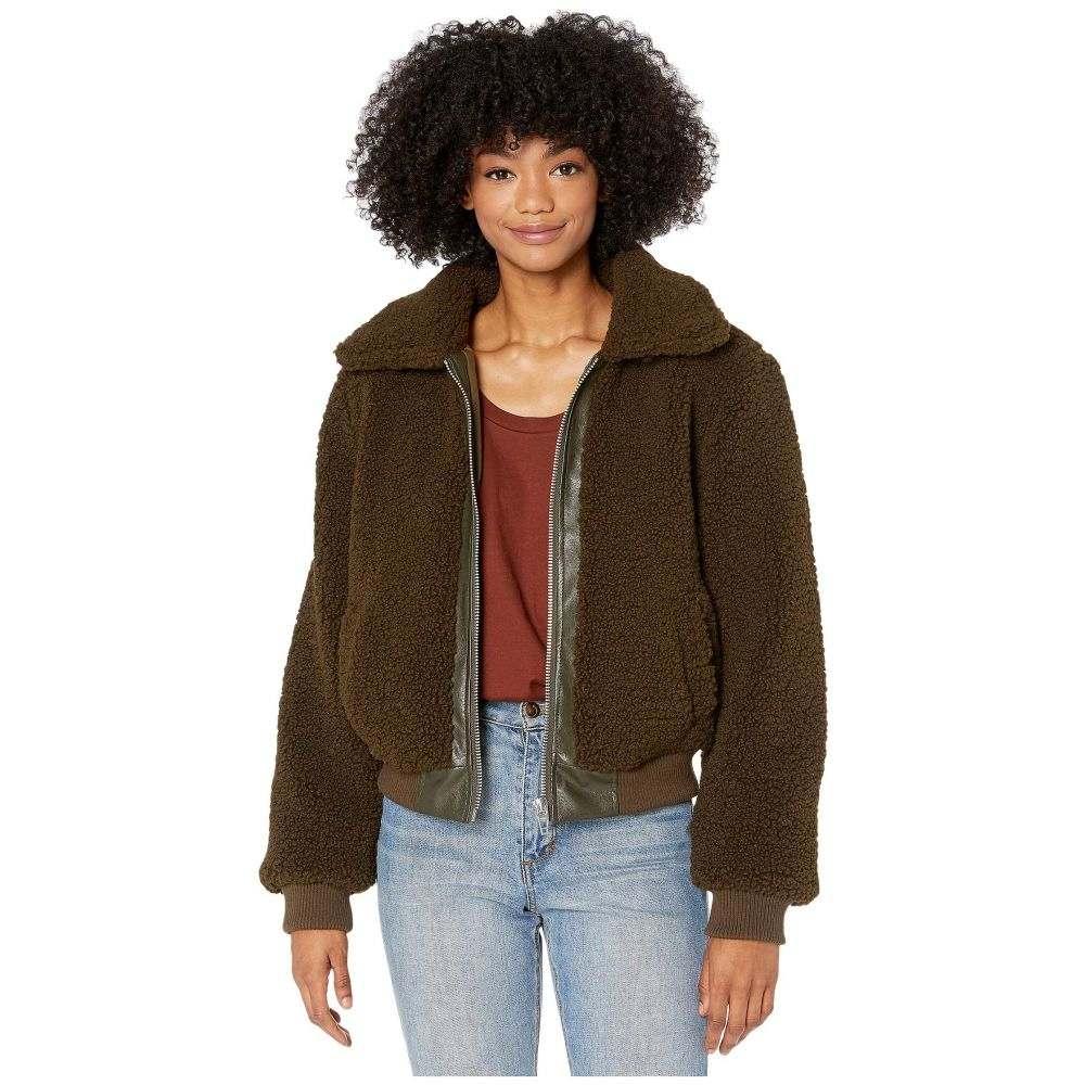 ブランクニューヨーク Blank NYC レディース ジャケット アウター【Sherpa Crop Jacket with Vegan Leather Center】Dark Matcha
