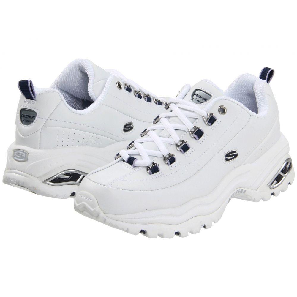 スケッチャーズ SKECHERS レディース スニーカー シューズ・靴【Premiums】White Smooth Leather/Navy Trim