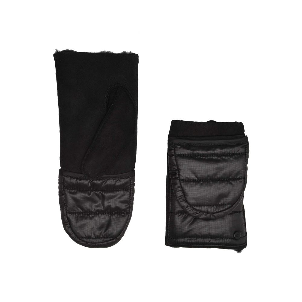 アグ UGG レディース 手袋・グローブ 【Water Resistant Sheepskin All Weather Flip Mitt】Black