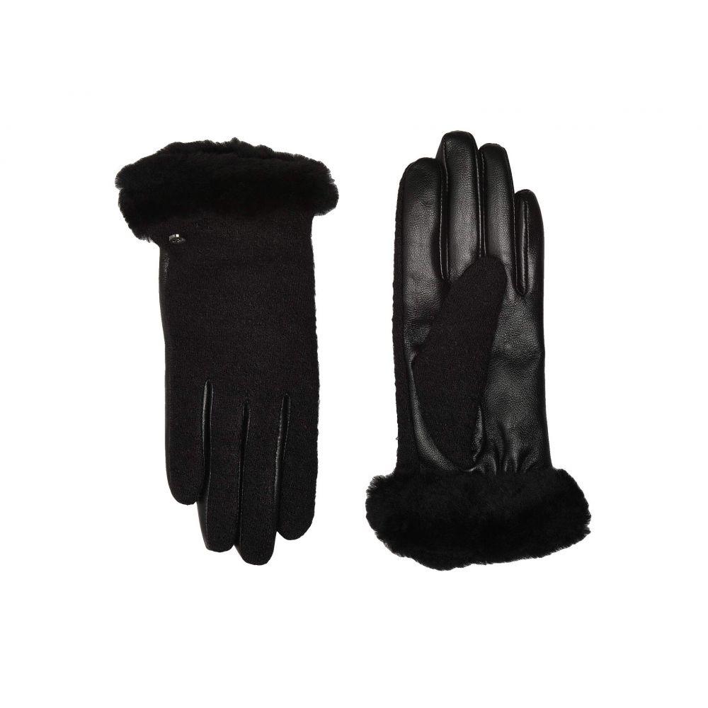 アグ UGG レディース 手袋・グローブ 【Fabric Leather Shorty Tech Gloves with Sherpa Lining】Black