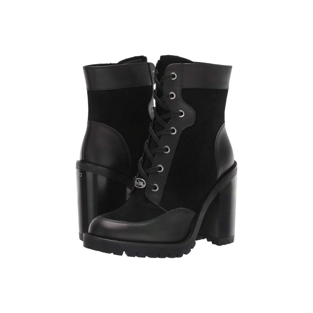 コーチ COACH レディース ハイキング・登山 レースアップ シューズ・靴【Hedy Lace-Up Bootie】Black Leather/Suede