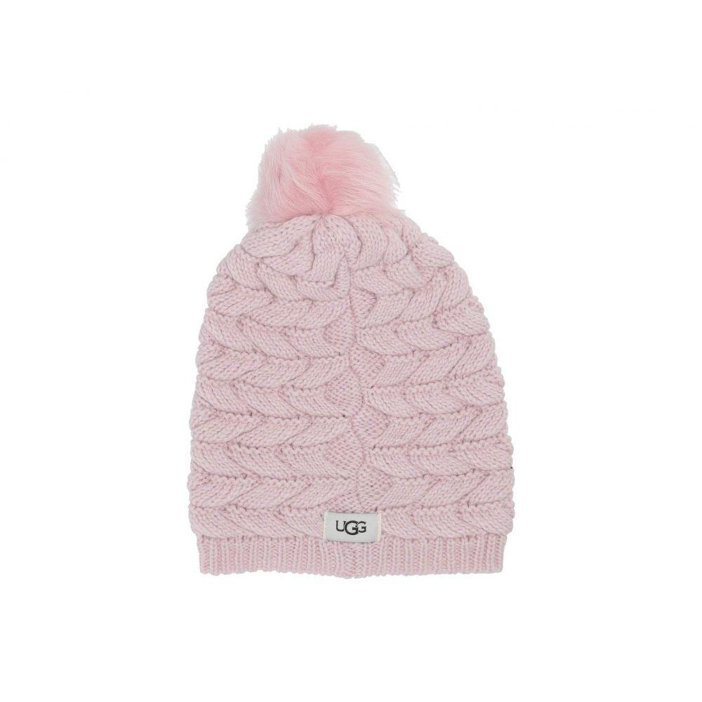 アグ UGG レディース ニット 帽子【Cable Hat with Pom】Pink Crystal