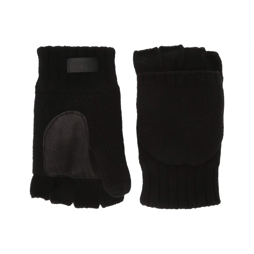 アグ UGG メンズ 手袋・グローブ ミトン【Knit Flip Mitten with Tech Leather Palm and Sherpa Lining】Black