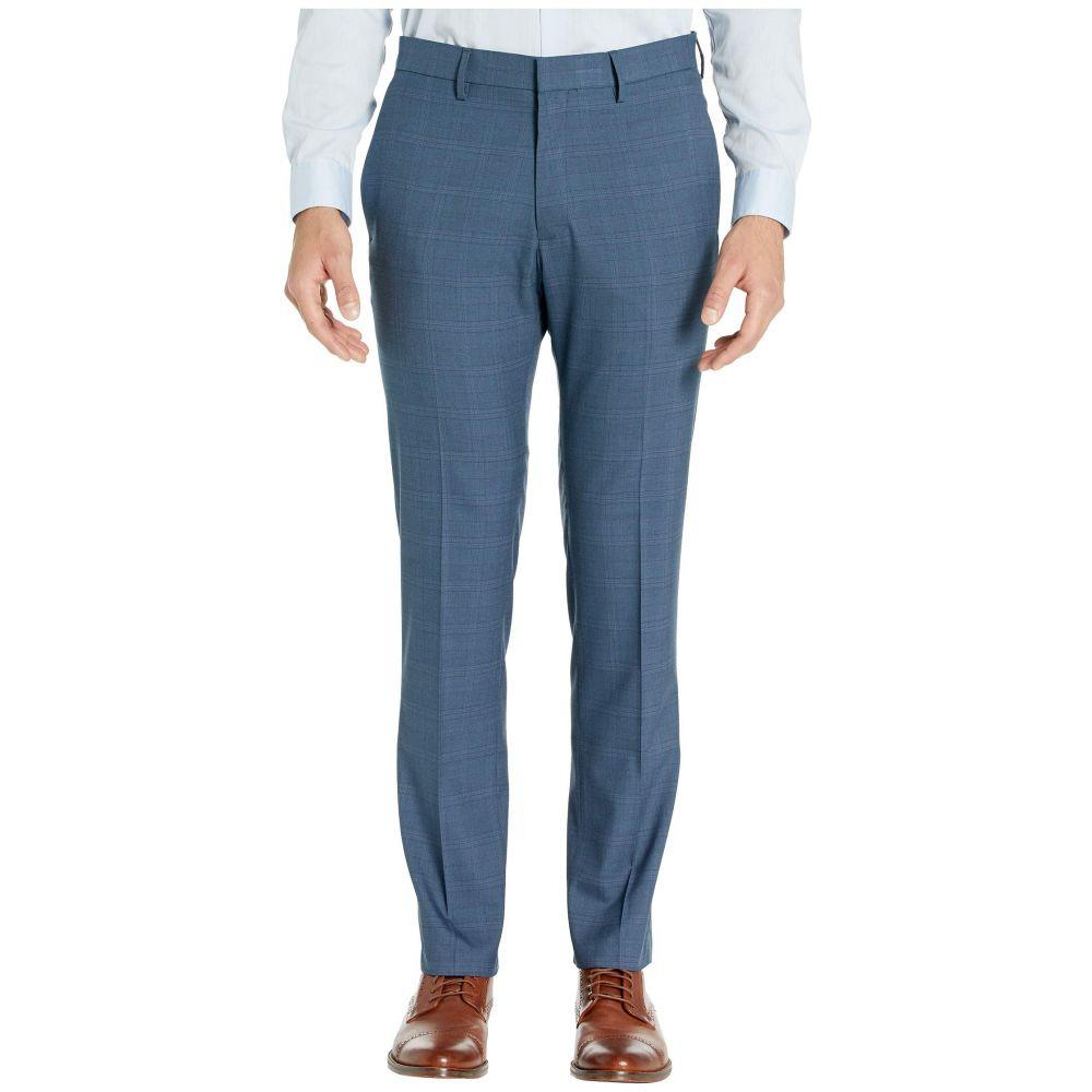 ケネス コール Kenneth Cole Reaction メンズ スラックス ボトムス・パンツ【stretch sharkskin plaid slim fit flat front dress pants】Blue