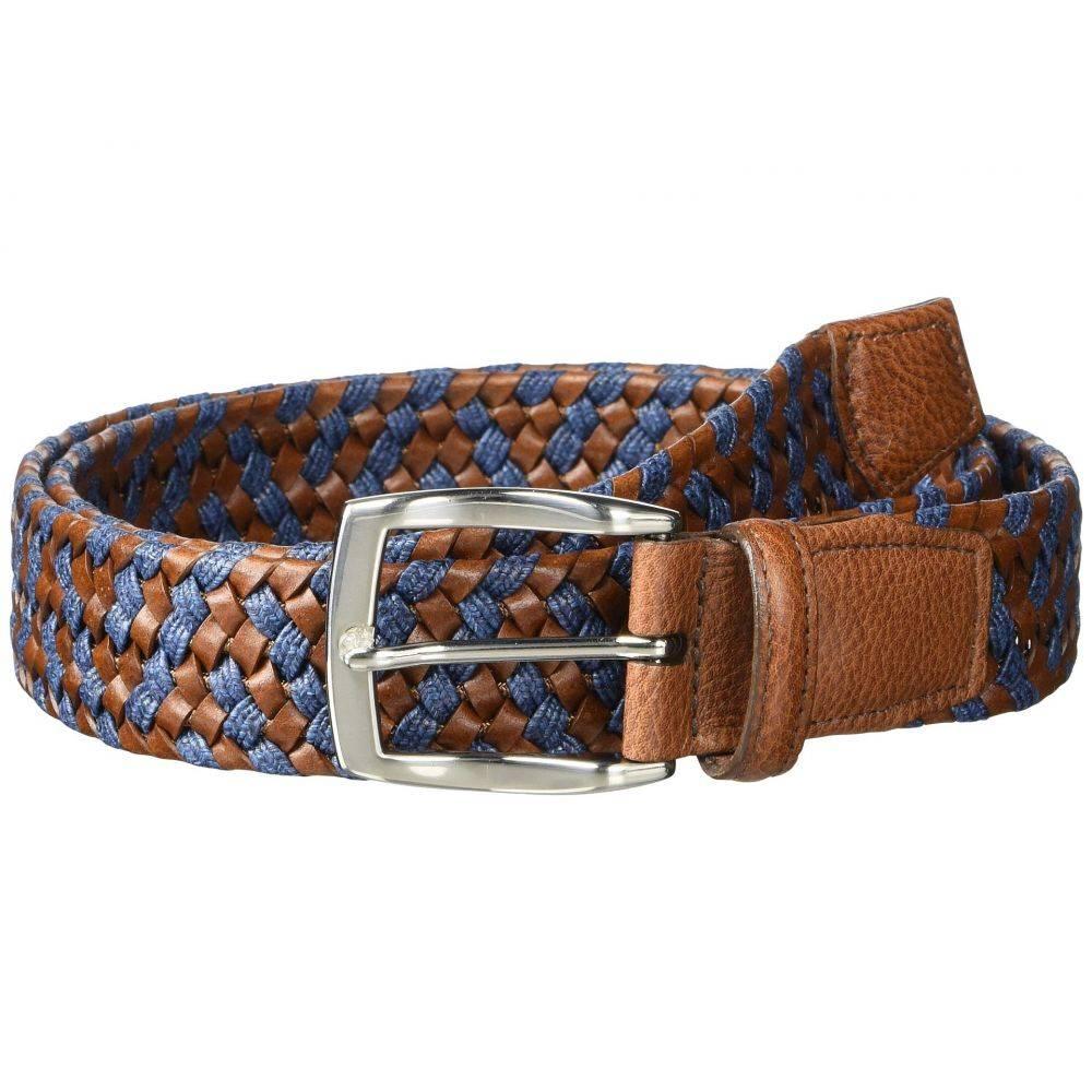 トリノレザー Torino Leather Co. メンズ ベルト 【35 mm braided leather & linen stretch】Cognac/Navy