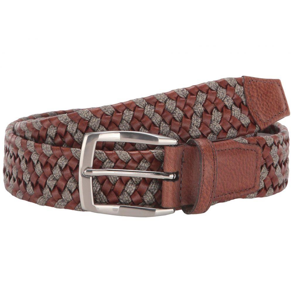 トリノレザー Torino Leather Co. メンズ ベルト 【35 mm braided leather & linen stretch】Cognac/Taupe