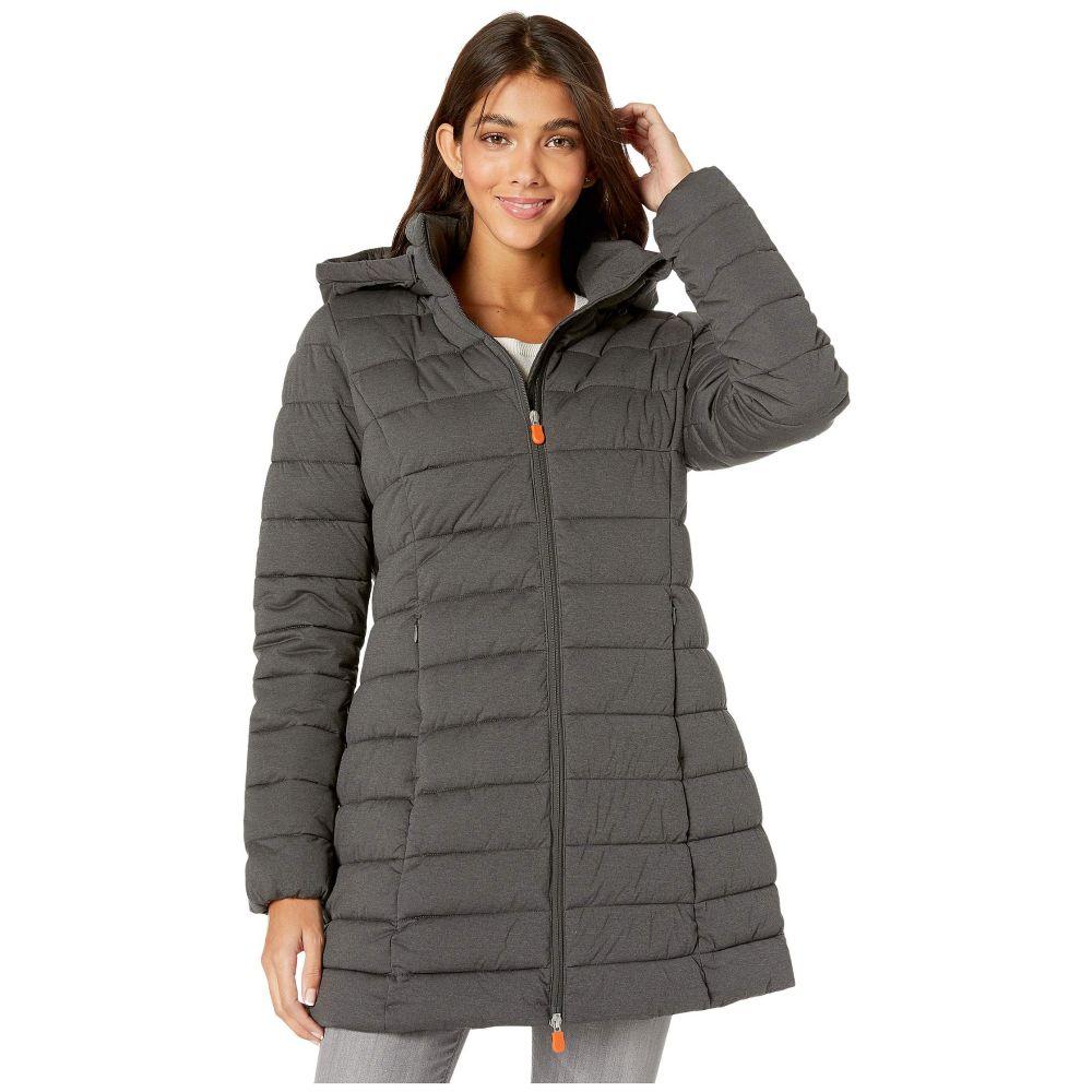 セイブ ザ ダック Save the Duck レディース ダウン・中綿ジャケット フード アウター【angy 9 hooded coat】Charcoal Grey Melange
