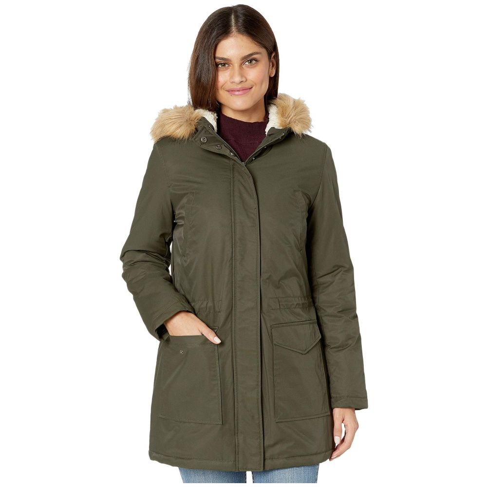 リーバイス Levi's レディース ダウン・中綿ジャケット アウター【coated cotton parka with sherpa and faux fur hood】Army Green