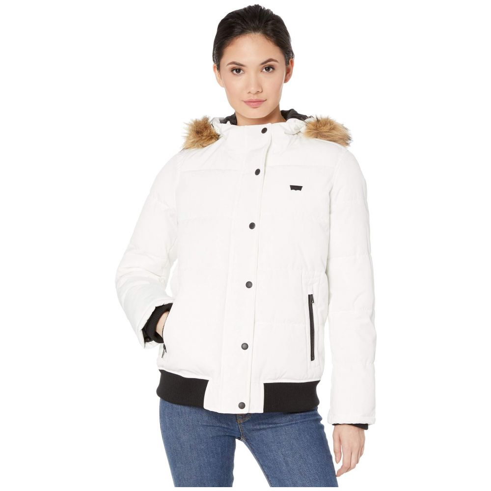 リーバイス Levi's レディース ダウン・中綿ジャケット アウター【arctic cloth shortie parka with faux fur hood】White Solid