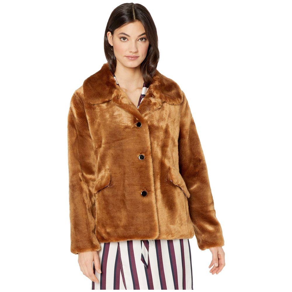 ケイト スペード Kate Spade New York レディース コート アウター【faux fur three-button jacket】Warm Ginger Bread