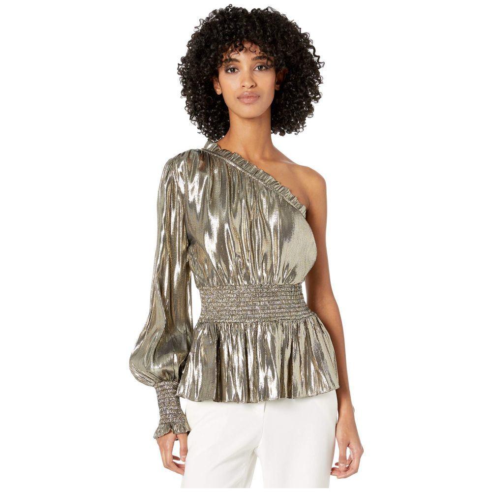 モニーク ルイリエ ML Monique Lhuillier レディース ブラウス・シャツ トップス【one sleeve smocked waist metallic top】Gold Metallic