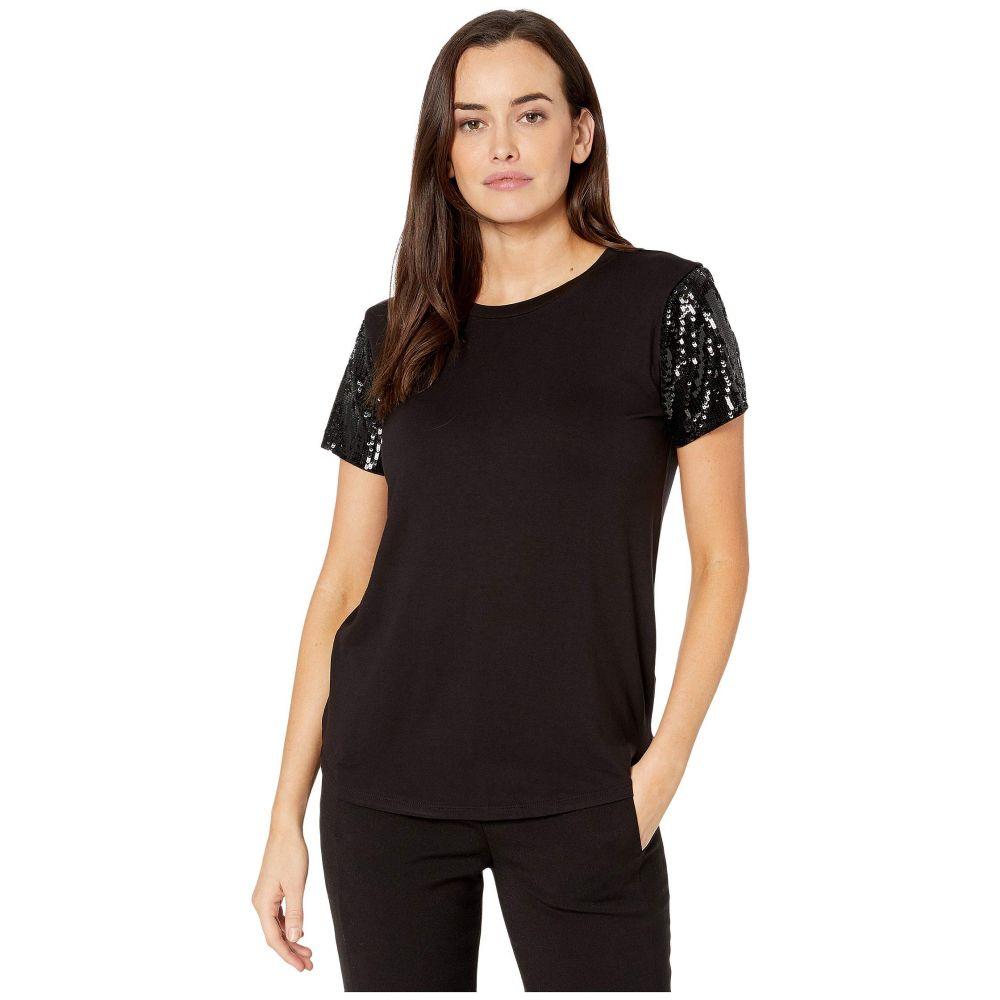 ラルフ ローレン LAUREN Ralph Lauren レディース Tシャツ トップス【Jersey Sequin-Sleeve Shirt】Polo Black