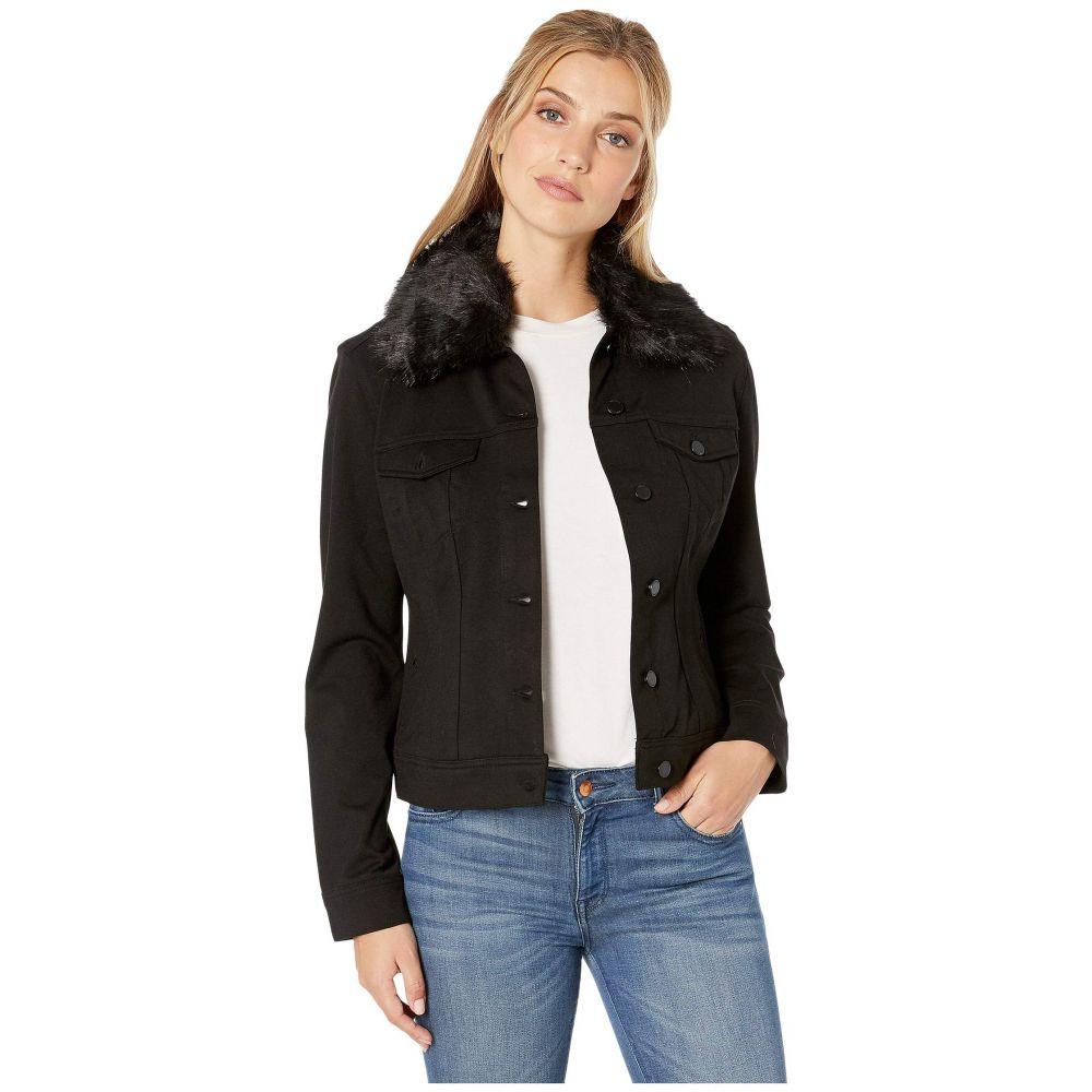 リバプール Liverpool レディース ジャケット アウター【Classic Jean Jacket w/ Detachable Faux Fur Collar in Super Stretch Ponte】Black
