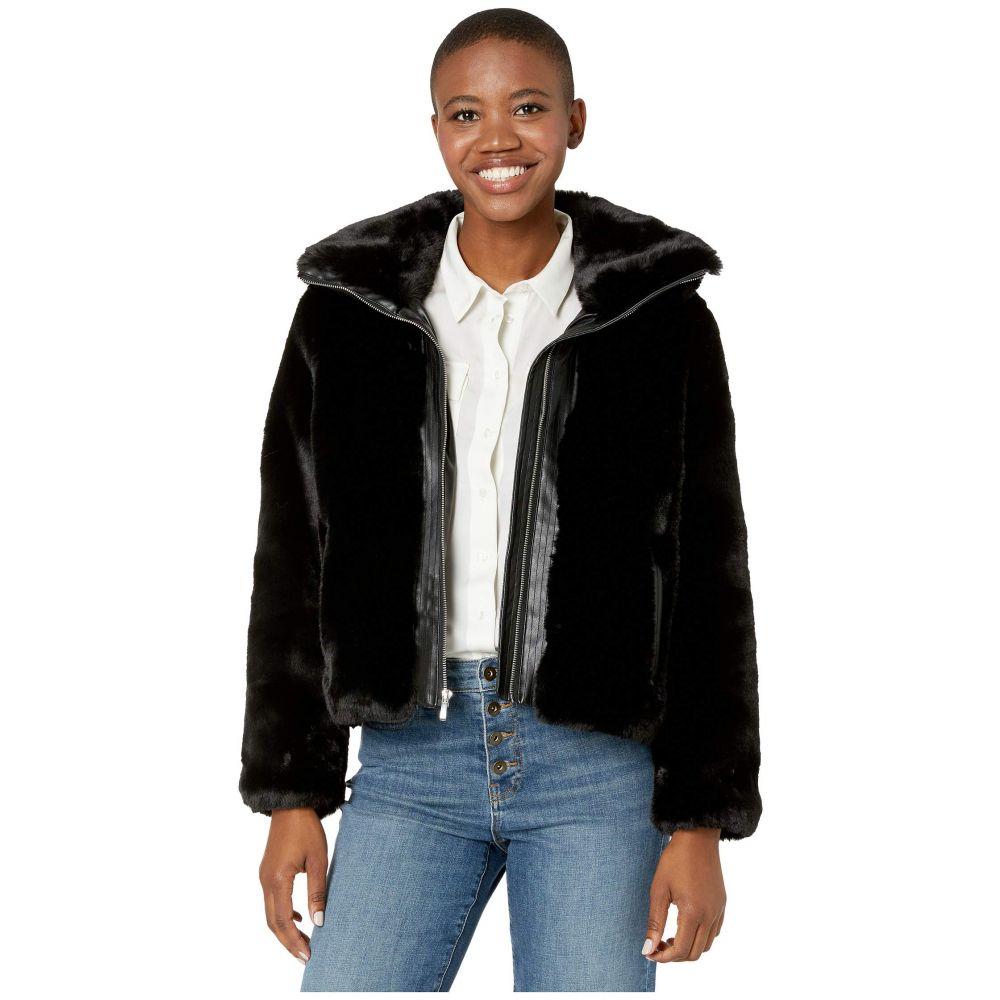 コールハーン Cole Haan レディース ジャケット スタンドカラー アウター【Faux Fur Jacket w/ Convertible Stand Collar】Black