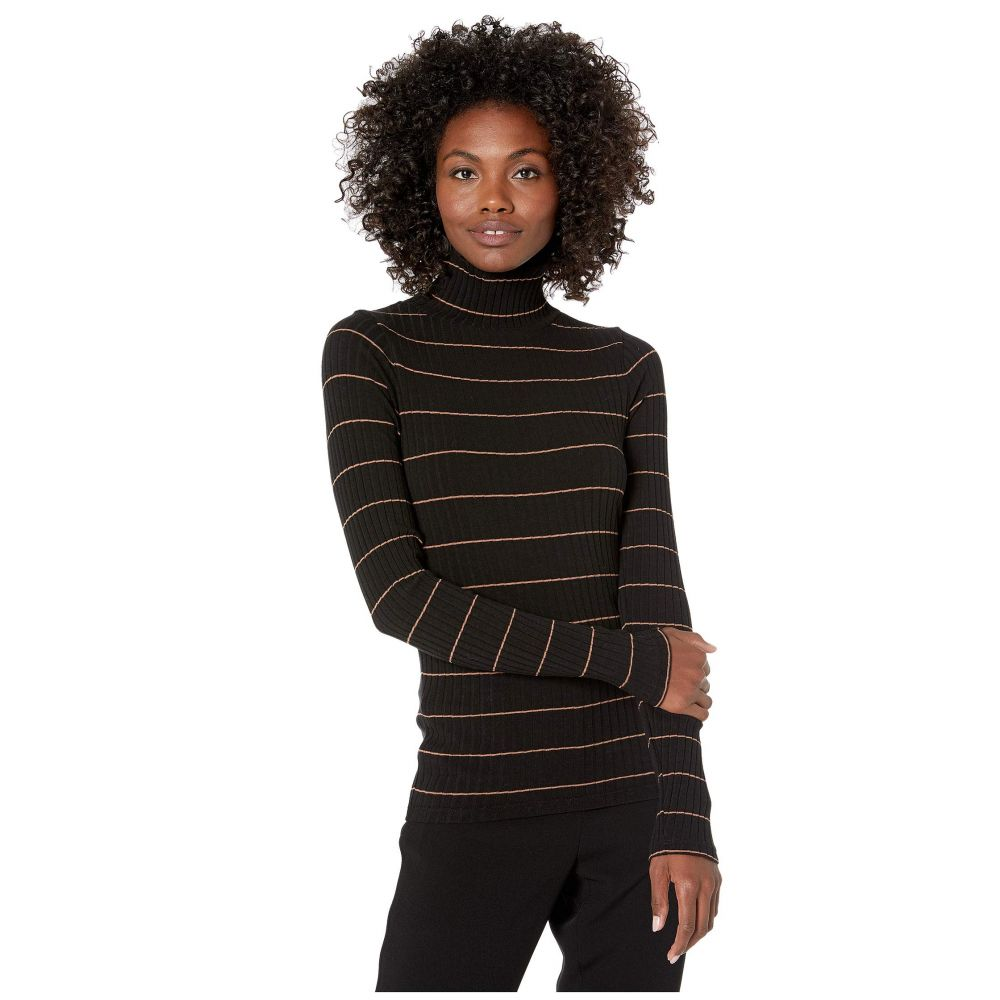 ヴィンス Vince レディース トップス 【Striped Rib Turtleneck】Black/Ambrette