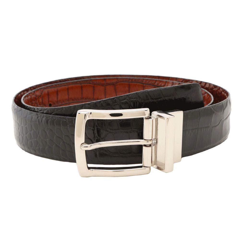 トリノレザー Torino Leather Co. メンズ ベルト 【Reversible Italian Crocodile Embossed】Black/Cognac