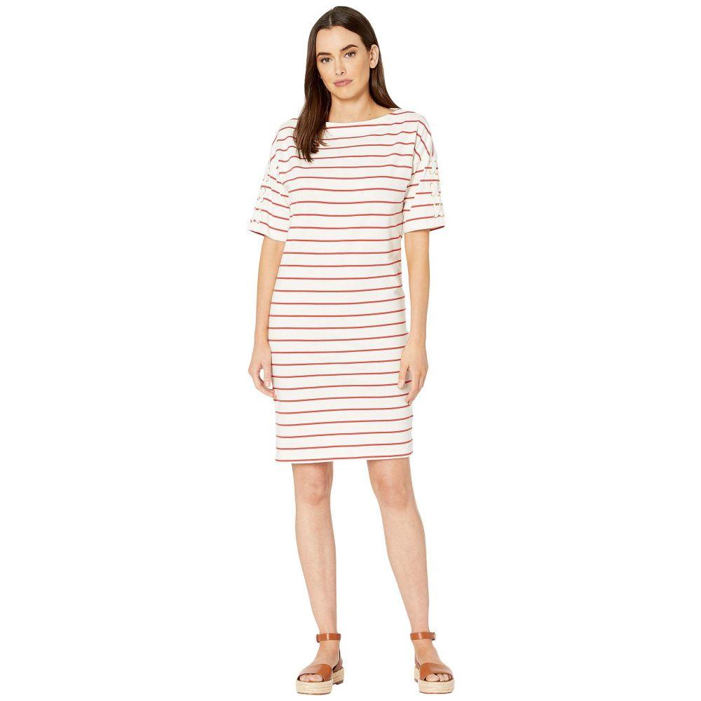 ラルフ ローレン LAUREN Ralph Lauren レディース ワンピース ワンピース・ドレス【Striped Jersey Boat Neck Dress】Mascarpone Cream/Canyon Red