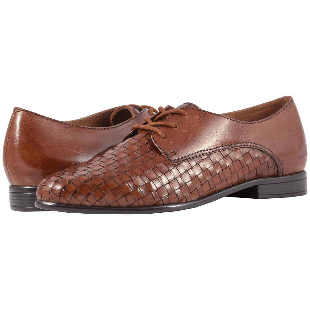 トロッターズ Trotters レディース ローファー・オックスフォード シューズ・靴【Lizzie】Cognac Woven/Smooth Leather