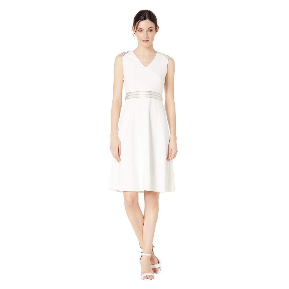 カルバンクライン Calvin Klein レディース ワンピース Vネック ワンピース・ドレス【V-Neck A-Line Dress with Ribbon Detail】White