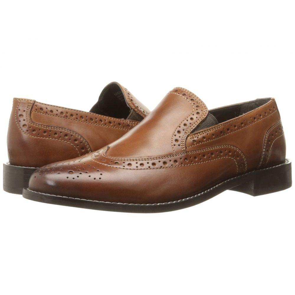 ナンブッシュ Nunn Bush メンズ スリッポン・フラット ウイングチップ シューズ・靴【Norris Wing Tip Double Gore Dress Casual Slip-On】Cognac