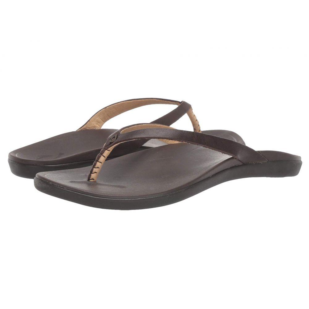 オルカイ OluKai レディース ビーチサンダル シューズ・靴【Ho'opio Leather】Dark Java/Dark Java