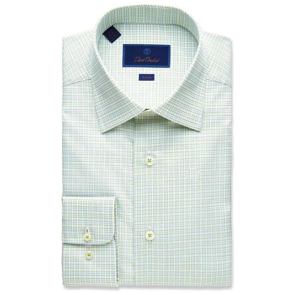 デビッドドナヒュー David Donahue メンズ シャツ トップス【Trim Fit Fine Line Twill Plaid Dress Shirt】Grass