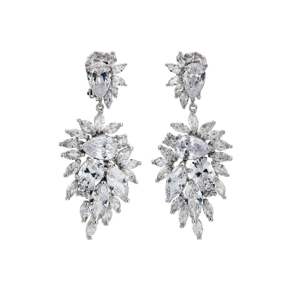 ニナ Nina レディース イヤリング・ピアス ジュエリー・アクセサリー【CZ Cluster Drop Clip Earrings】Rhodium/White Pearl/White Crystal
