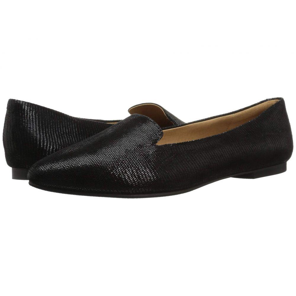 トロッターズ Trotters レディース スリッポン・フラット シューズ・靴【Harlowe】Black Soft Lizard Embossed Patent Suede
