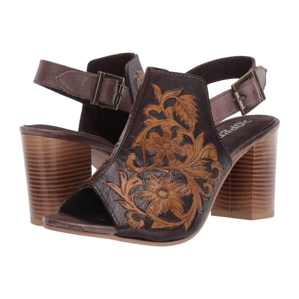 ローパー Roper レディース ヒール シューズ・靴【Mika】Brown Floral Tooled Leather