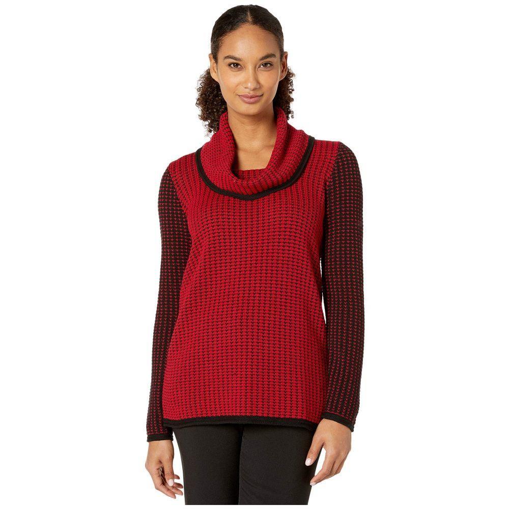 カルバンクライン Calvin Klein レディース ニット・セーター トップス【Mixed Stitch Sweater with Cowl Neckline】Rouge/Black