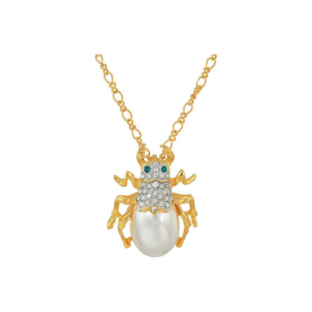 ケネスジェイレーン Kenneth Jay Lane レディース ネックレス ジュエリー・アクセサリー【18' Gold Chain with Crystal and Pearl Beetle Pendant Necklace】Gold/Pearl