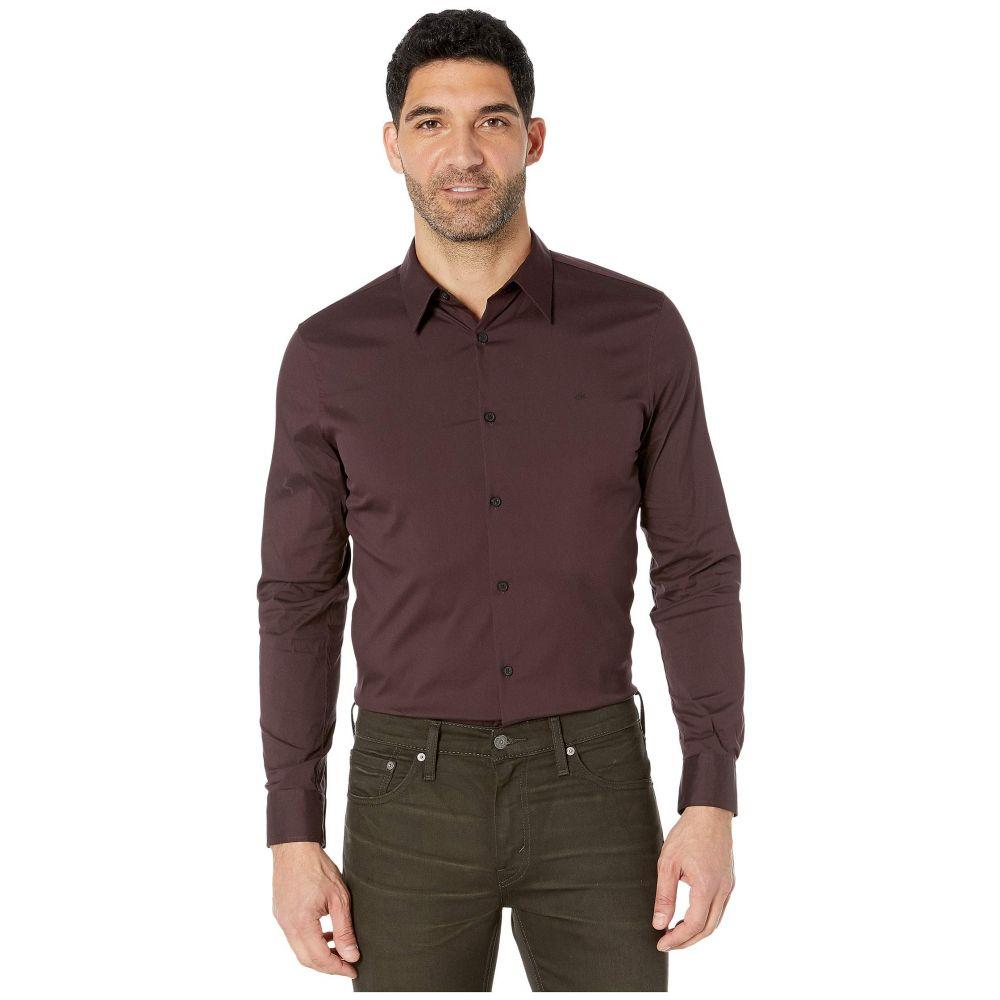 カルバンクライン Calvin Klein メンズ シャツ トップス【The Stretch Cotton Shirt】Wine Tasting