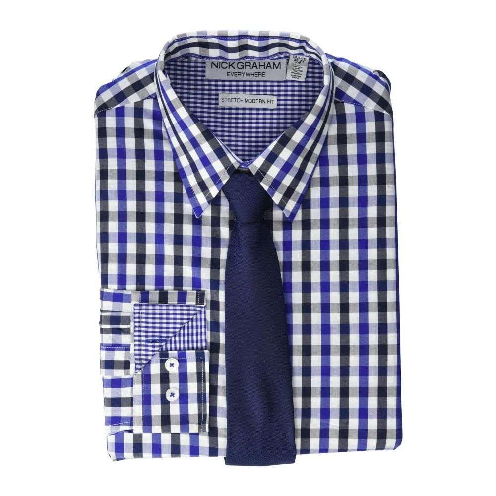 ニック グラハム Nick Graham メンズ シャツ トップス【Gingham Contrast CVC Stretch Dress Shirt & Tie Set】Navy