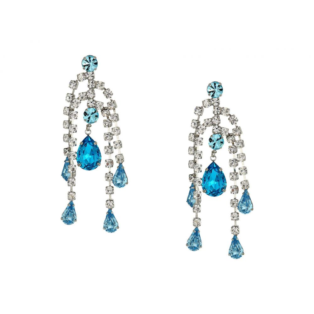 ケネスジェイレーン Kenneth Jay Lane レディース イヤリング・ピアス ジュエリー・アクセサリー【5 Row Crystal with Aqua Drop Direct Post Earrings】Crystal/Aqua