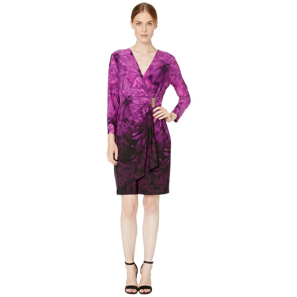 カルバンクライン Calvin Klein レディース ワンピース ラップドレス ワンピース・ドレス【Printed Faux Wrap Dress with Side Tab】Aubergine