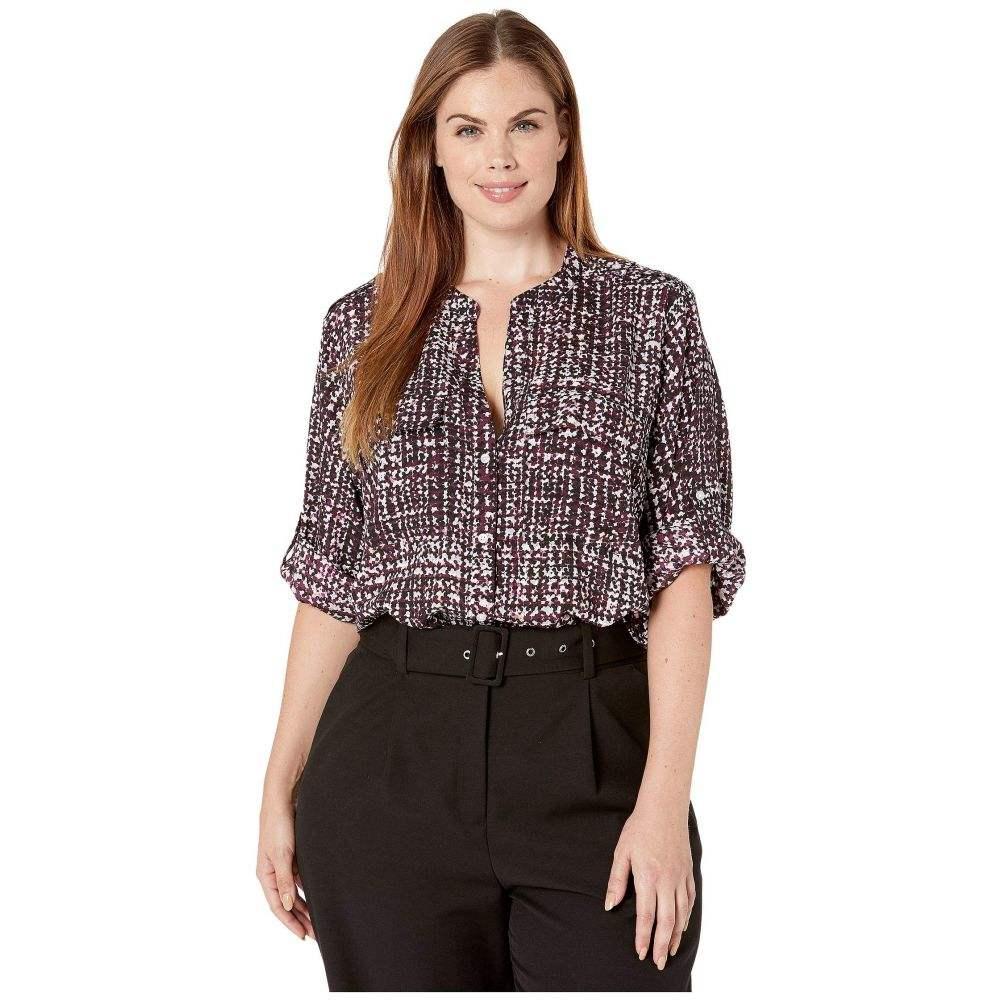 カルバンクライン Calvin Klein Plus レディース ブラウス・シャツ 大きいサイズ トップス【Plus Size Printed Roll Sleeve Blouse】Aubergine Combo