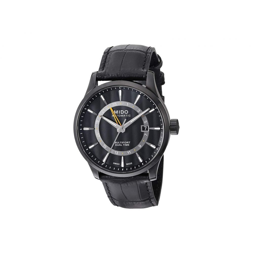 ミドー Mido メンズ 腕時計 【Multifort Gmt with Black PVD Case and Black Leather Strap - M0384293605100】Black