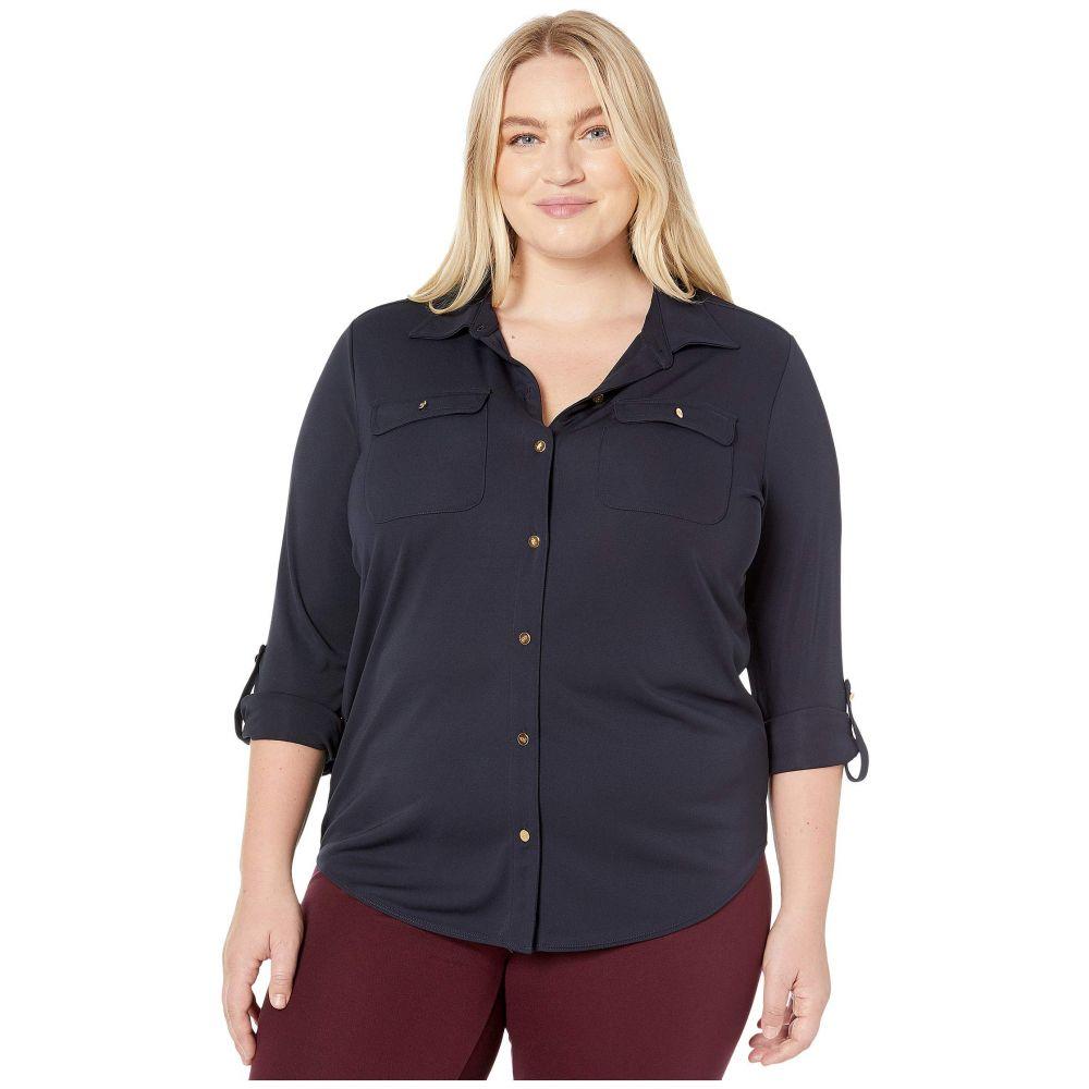 ラルフ ローレン LAUREN Ralph Lauren レディース ブラウス・シャツ 大きいサイズ トップス【Plus Size Roll-Tab Sleeve Shirt】Lauren Navy
