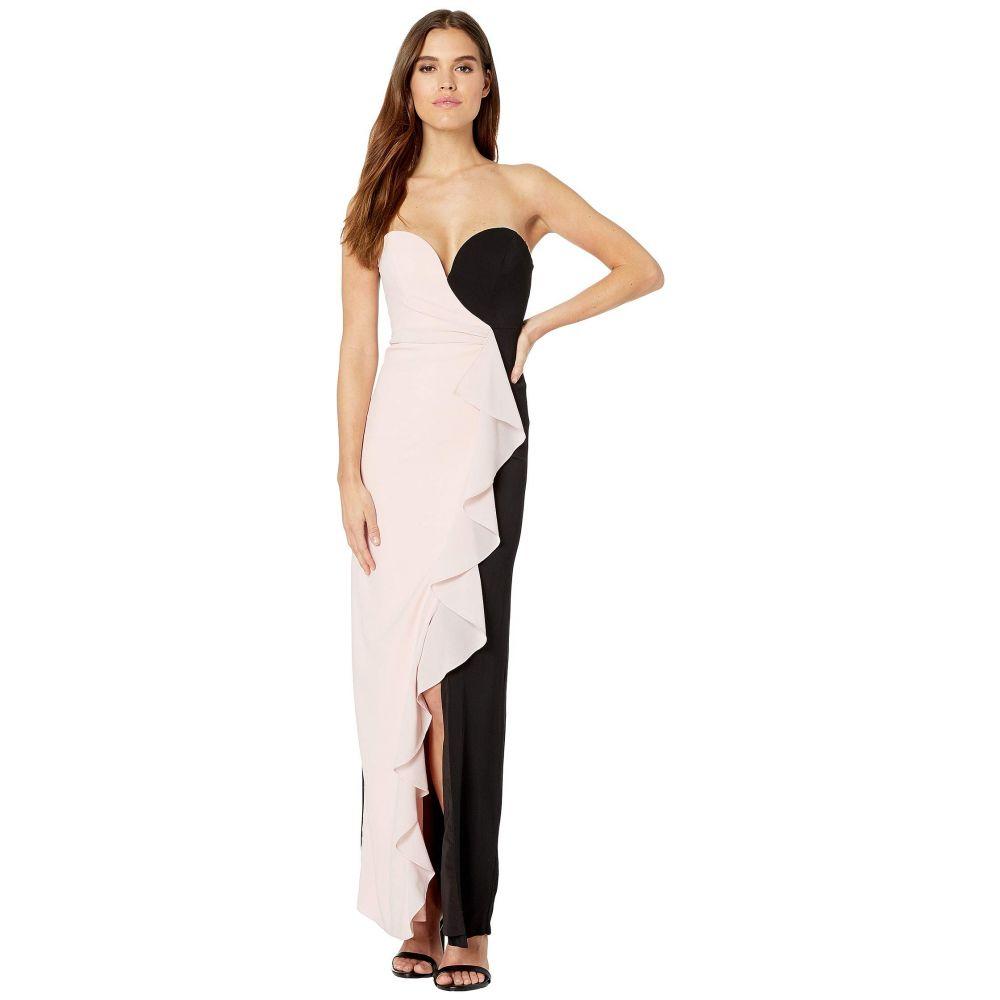 ニコルミラー Nicole Miller レディース パーティードレス ワンピース・ドレス【Strapless Ruffle Gown】Peach Daquari/Black