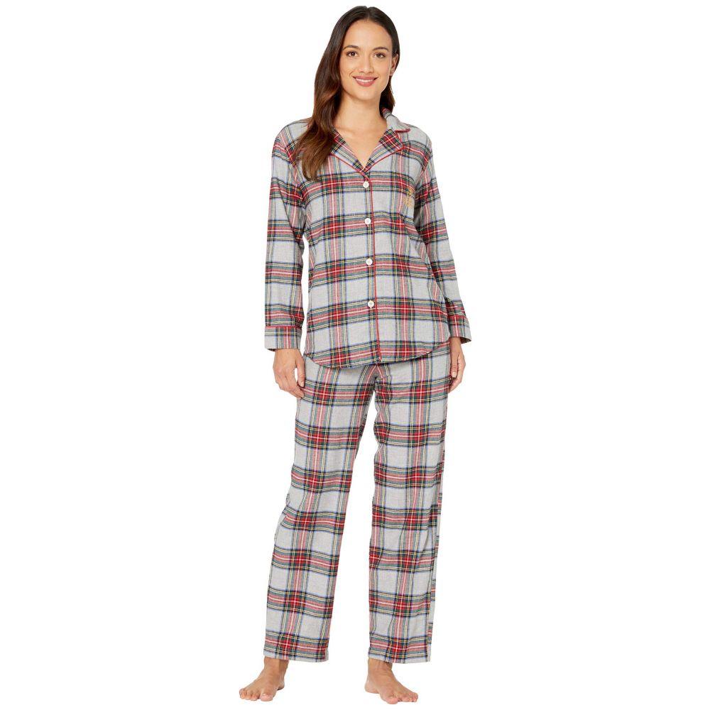 ラルフ ローレン LAUREN Ralph Lauren レディース パジャマ・上下セット インナー・下着【Petite Brushed Twill Long Sleeve Notch Collar Long Pants Pajama Set】Multi Plaid