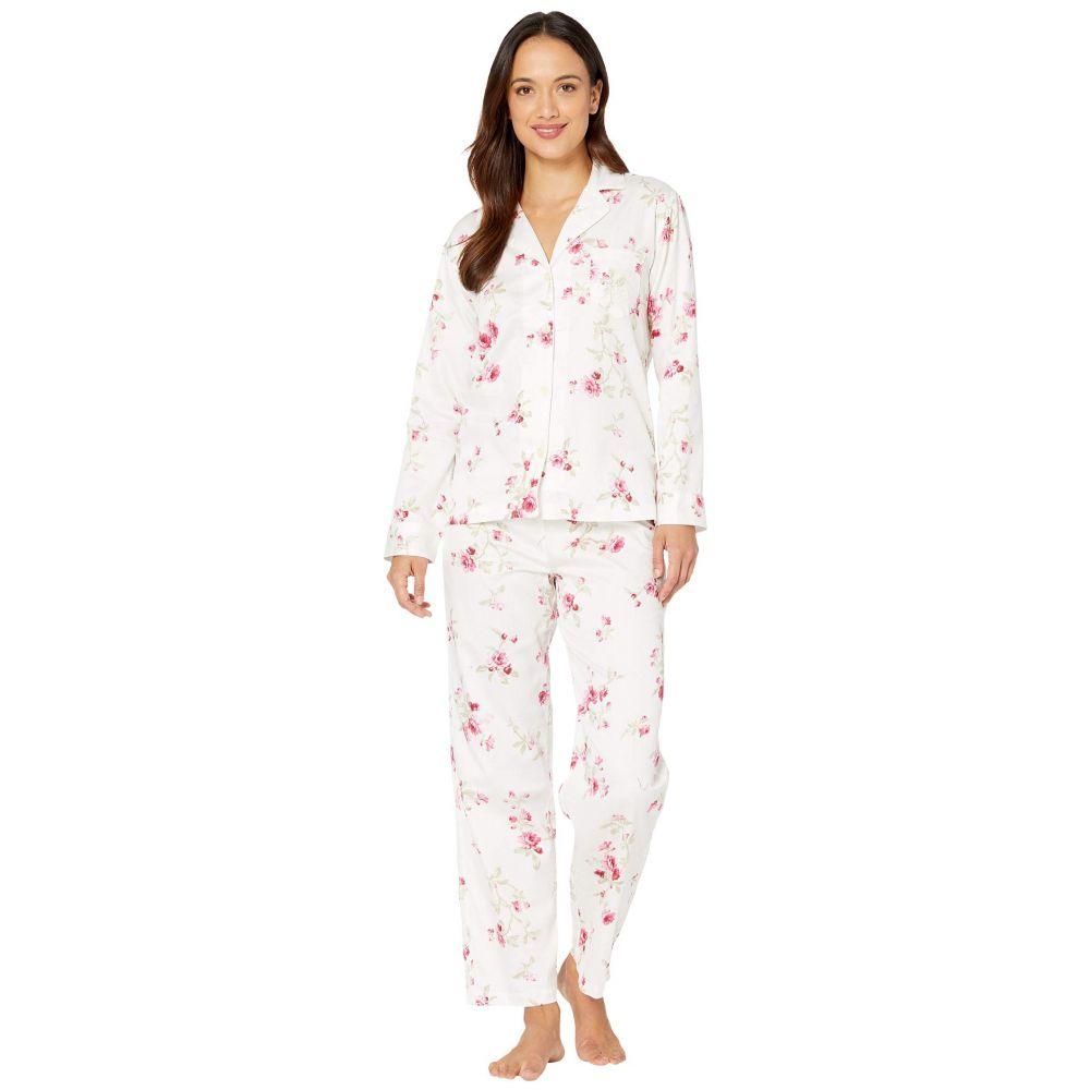 ラルフ ローレン LAUREN Ralph Lauren レディース パジャマ・上下セット インナー・下着【Petite Classic Sateen Long Sleeve Notch Collar Long Pants Pajama Set】White Floral Stripe